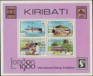 1980 Kiribati #352-355a, Complete Set(5), Never Hinged