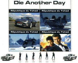 Chad 2020 JAMES BOND Roger Moore Halley Berry Cars Porsche Perforated Mint (NH)