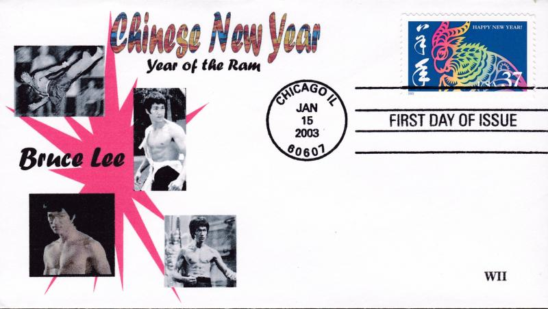 United States 2003 Year of the Ram Chinese New Year FDC Bruce Lee Cachet