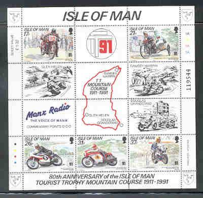 Isle of Man Sc 476a 1991 TT Mountain Course stamp sheet mint NH