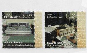 EL SALVADOR 2008 RADIO, 82 YEARS OF HISTORY, SET OF 2 VALUES MINT NH