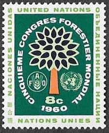UN New York SC 82 - Tree with FAO & UN Emblems- MNH - 1960
