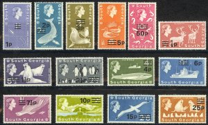 South Georgia Sc# 17-30 MNH 1971-1972 Surcharged Definitives