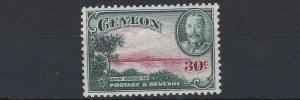 CEYLON  1935 - 36     S G 376  30C  CARMINE & GREEN      MH