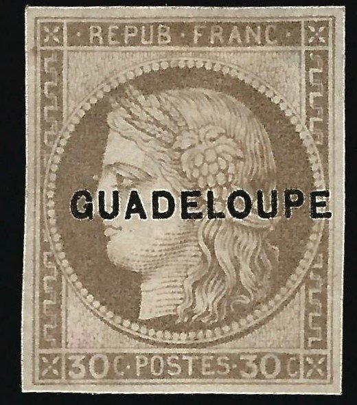 Guadeloupe (Scott #12) Overprint Mint OG VF...French Colonies are hot!