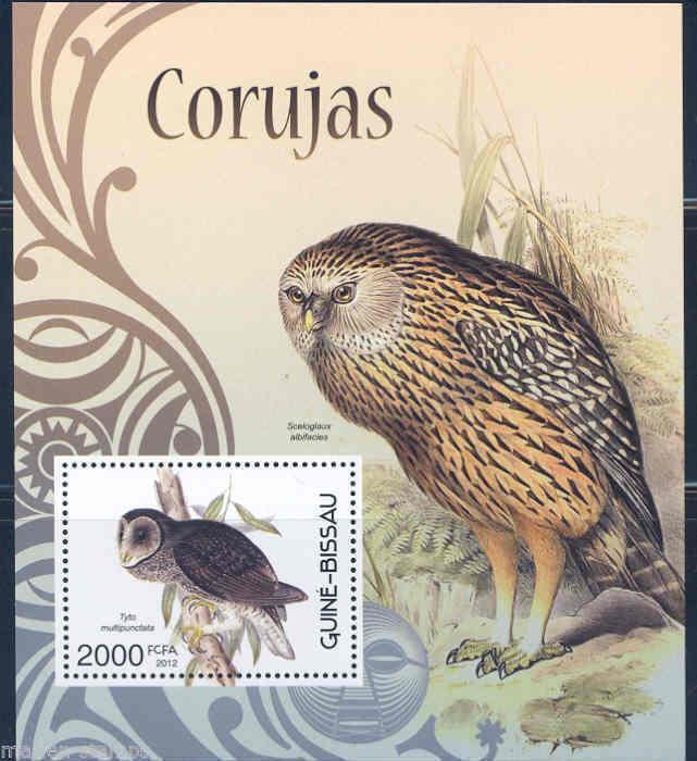 Guinea-Bissau MNH S/S OWLS Birds Fauna 2012
