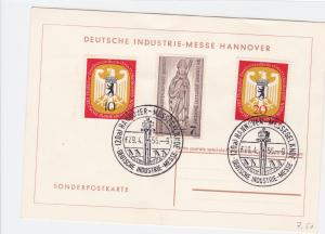 Germany Hanover 1956 Industry Fair stamps card R21083