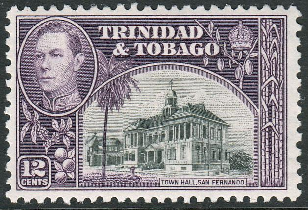 Trinidad & Tobago KGVI 1938 12c Black Slate-Purple SG252a Mint Hinged
