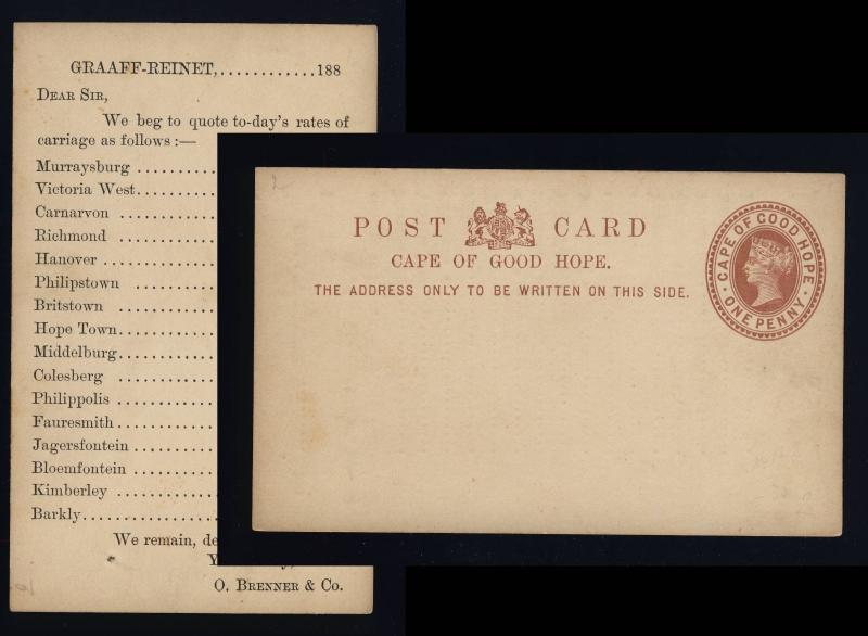 CAPE OF GOOD HOPE - 1882 - 1d POSTAL CARD PRE-PRINTED Brenner & Co, GRAAF-REINET