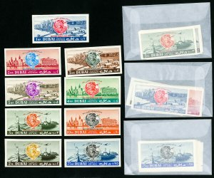 Dubai Stamps # 33-8 + C36-8 Lot of 4 Imperf Sets NH
