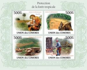 COMORES 2010 SHEET PROTECTION TROPICAL FORESTS FORET WILDLIFE MONKEYS cm10110a