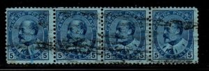 Canada Sc 91 1904 5 c blue Edward VII stamp strip of 4  used