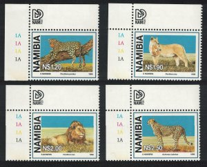 Namibia Lion Leopard Cheetah Large Wild Cats 4v Corners SG#782-785
