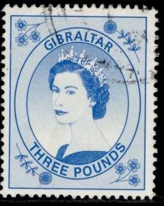 GIBRALTAR QEII SG870, 1999 £3 bright blue, FINE USED. Cat £12.
