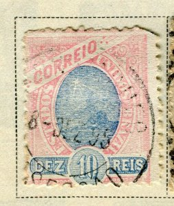 BRAZIL; 1894 early classic issue fine used 10r. value