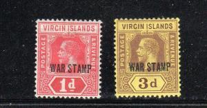 VIRGIN ISLANDS #MR1-MR2  1917  WAR TAX   MINT VF LH O.G