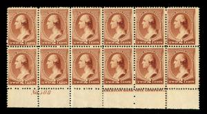 MOMEN: US STAMPS #210 PLATE BLOCK OF 12 MINT OG NH INTACT