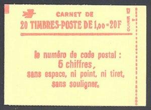 France 1977 20F Red booklet matte gum Sc# 1571a NH