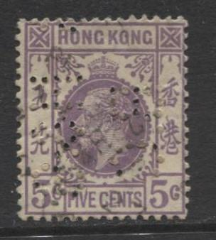 Hong Kong - Scott 134 - KGV- Definitive-1921- Used- Single 5c Stamp