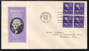 US 807 Thomas Jefferson Block of Four Ioor U/A FDC