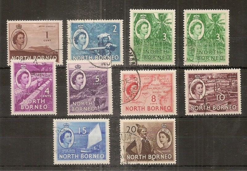 North Borneo 1954 + 1961 Definitives Fine Used