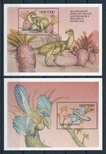 [106427] Lesotho 1992 Prehistoric animals dinosaurs Birds 2 sheets MNH