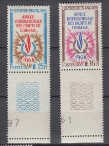 J28019 1968 french polynesia set mnh #243-4 human rights