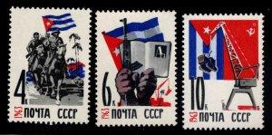 Russia Scott 2736-2738 MNH** Cuba Flag stamp set