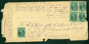 U.S. #158 x 5 on POST OFFICE BELTON TEXAS on tattered legal size envelope