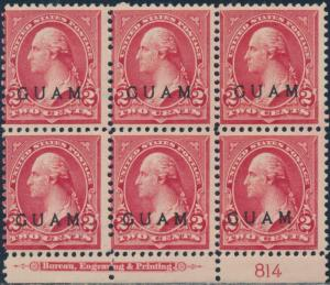 GUAM #2 LOWER PLATE BLOCK OF 6 FINE OG TROPICAL GUM CV $300 BR5766