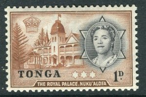 TONGA; 1953 early QEII issue fine Mint hinged 1d. value