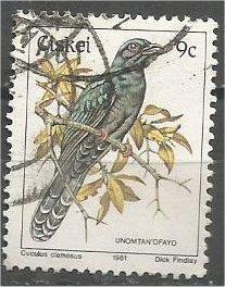 CISKEI, 1981, used 9c, Birds, Scott 13