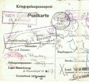 GB Middx GERMANY POW Camp Card UNKNOWN ISLEWORTH 1941 WW2 {samwells-covers}MA15