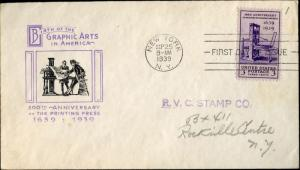 #857 GRAPHIC ARTS FDC CACHET; NEW YORK, NY CNL BM6972