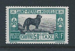 St. Pierre & Miquelon #J27 MH 50c Newfoundland Dog Postage Due