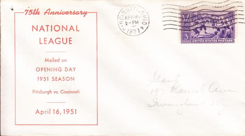 1951 Baseball Opening Day Event Cover with Baseball Stamp