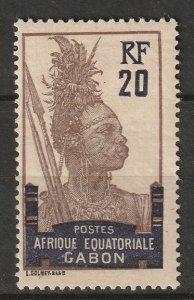 Gabon 1910 Sc 57a MH* disturbed gum brown shade