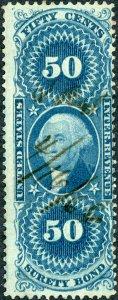 #R63 – 1862-71 50c bl,surety bond,old paper. Used.