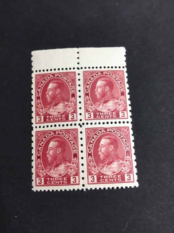 Canada 3c Admiral Perf. 12 x 8 Mnt Block of Four #184 VF-NH USC Cat. $144.00
