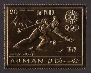 Ajman Mi #653A  mnh - 1970 - 1972 Winter Olympics Sapporo - perf - gold foil