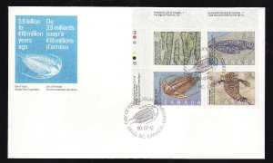Canada-Sc#1282a-stamp on FDC-UL plate block-Prehistoric Animals-1990-