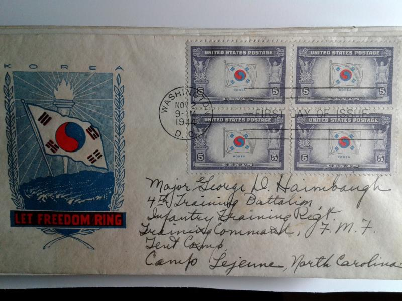 SCOTT # 921 KOREA BLOCK OF 4 FIRST DAY OF ISSUE NICE CACHE !!
