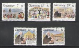 Sc Guernsey Sc 362-7 1987 Wesley Visit stamp set mint NH