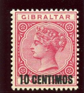 Gibraltar 1889 QV 10c on 1d rose superb MNH. SG 16. Sc 23.