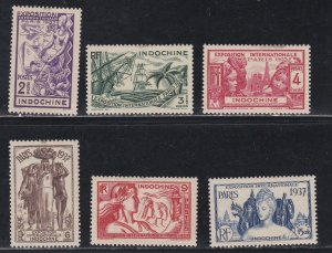 Indo-China # 193-198, Paris International Exposition, Hinged, Stains, 1/3 Cat.