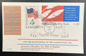 US #UX156 FDC + #1153 POSTCARD - Bicentennial of Constitution 1787-1987 [BIC89]