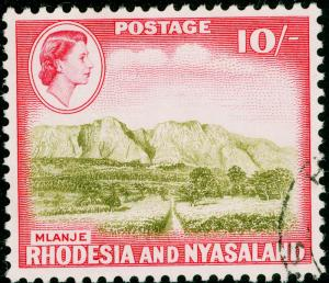 RHODESIA & NYASALAND SG30, 10s olive-brown & rose-red, FINE USED. Cat £26.