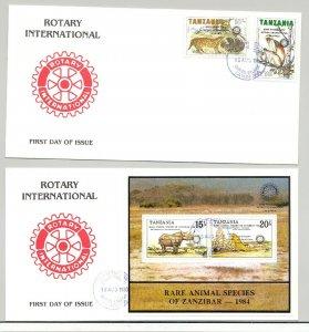 Tanzania 1988 Animals, Monkeys o/p Rotary 2v & 1v S/S on 2 FDC