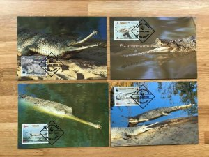 1990 BANGLADESH - SG:340/3 - WORLD WILDLIFE FUND - 4 x MAXI CARDS  CROCODILE