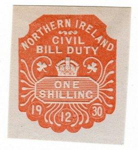 (I.B) George V Revenue : Northern Ireland Civil Bill Duty 1/-